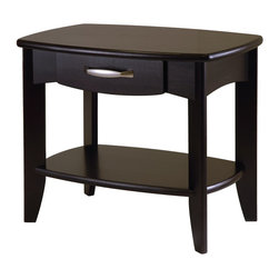 Winsome Wood - Winsome Wood Danica End Table with Dark Espresso Finish X-42829 - The Danica Collection has clean yet traditional lines.  The curved drawers is a perfect place to keep clutter out of sight.  An open lower shelf gives you more space.  Made of Solid and composite wood in Espresso Finish.  Assembly Required.