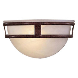 Minka-Lavery - Pacifica Small Wall Sconce - Rich Antique Bronze and soft etched marble glass combine to make this piece a transitional alternative. Minka-Lavery - 839-91