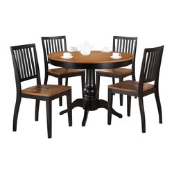 """Steve Silver Furniture - Steve Silver Candice 6-Piece Round Dining Room Set in Oak and Black - The Candice collection offers country-style simplicity, transforming any dining area into a charming sanctuary. The black and oak Candice pedestal table features a beautifully turned base with a 42"""" round top  that will seat four comfort and Bath/Quilts and Coverlets Bed and Bath/Mattress Pads and Covers Bed and"""