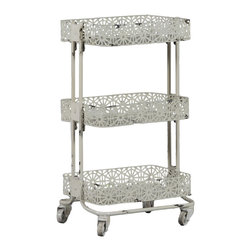 None - Linon Cream Metal 3-tier Cart - The Linon cream metal three-tier cart offers a versatile storage solution to keep your things tidy and organized. The metal construction ensures long-lasting durability,while the cream finish lends a timeless classic look to this floral-themed cart.