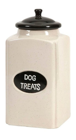 """Imax Worldwide Home - Dog Large Ceramic Canister with Metal Plaque - This cream finished ceramic canister is a great place to store dog treats for your canine friends!; Materials: 99% Ceramic, 1% Iron; Country of Origin: China; Weight: 3.65 lbs; Dimensions: 11""""H x 5.25""""W x 5.25"""""""