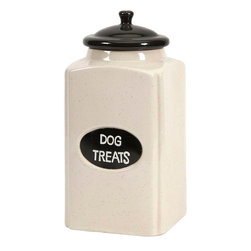 "Imax Worldwide Home - Dog Large Ceramic Canister with Metal Plaque - This cream finished ceramic canister is a great place to store dog treats for your canine friends!; Materials: 99% Ceramic, 1% Iron; Country of Origin: China; Weight: 3.65 lbs; Dimensions: 11""H x 5.25""W x 5.25"""