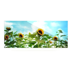 """Kess InHouse - Sylvia Cook """"Sunflower Field"""" Blue Green Metal Luxe Panel (9"""" x 21"""") - Our luxe KESS InHouse art panels are the perfect addition to your super fab living room, dining room, bedroom or bathroom. Heck, we have customers that have them in their sunrooms. These items are the art equivalent to flat screens. They offer a bright splash of color in a sleek and elegant way. They are available in square and rectangle sizes. Comes with a shadow mount for an even sleeker finish. By infusing the dyes of the artwork directly onto specially coated metal panels, the artwork is extremely durable and will showcase the exceptional detail. Use them together to make large art installations or showcase them individually. Our KESS InHouse Art Panels will jump off your walls. We can't wait to see what our interior design savvy clients will come up with next."""