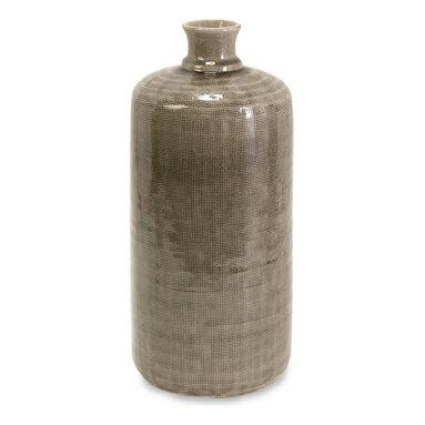 iMax - iMax Small Kempton Grey Jar X-96046 - You'll love the unique texture of this  neutral grey jar.