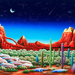 Murals Your Way - Red Rocks Wall Art - Painted by Andy Russell, the Red Rocks  wall mural from Murals Your Way will add a distinctive touch to any room