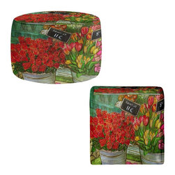 DiaNoche Designs - The Paris Flower Shop Ottoman - Lightweight, artistic, bean bag style ottomans. Coming in 2 square sizes and 1 round, you now have a unique place put rest your legs or tush after a long day. Artist print on all sides. Dye Sublimation printing adheres the ink to the material for long life and durability. Printed top, khaki colored bottom. Machine washable. Product may vary slightly from image.