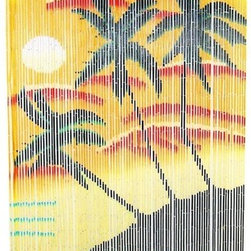 Bamboo54 - Bamboo Palm Sunset Curtain - Very tropical bamboo curtain with tri palm sunset motif. Painted on both side and easily hangs under any door frame with the attached eye rings.