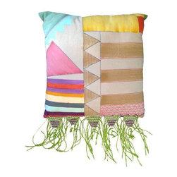Canvas Macrame Fringe Pillow 18 x 18 - Dimensions 18.0ʺW × 18.0ʺD × 2.0ʺH