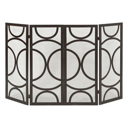"Imax Worldwide Home - Winnoa Fireplace Screen - The Winnoa fireplace screen has a modern circular pattern and four screened panels in a black finish. Looks great in a variety of interiors by designer Melissa Vasquez.; Materials: 100% Iron; Country of Origin: China; Weight: 14.5 lbs; Dimensions: 29.25""H x 25.25""W"