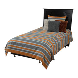 Rizzy Home - Hudson Gray Twin Size Comforter Bed Set - Hudson Comforter Set is a gray and orange stripe brings a modern look to your bedroom.  The combination of orange and gray stripes on this comforter made of 100% cotton would be great for any bedroom in your home.  The matching sham completes the look.   The Hudson bedding ensemble brings a crisp, yet casual appearance bedroom.