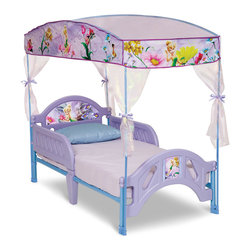 Disney - Disney Fairies Canopy Bed Frame - Featuring graphics from a favorite cartoon, this bed frame makes bedtime something to look forward to. Its removable guardrails on both sides keep your little dreamer safely tucked in.   Mattress and bedding not included Weight capacity: 50 lbs. 30.25'' W x 26.25'' H x 56.25'' D Steel / plastic Attached guardrails JPMA-certified Assembly required Recommended for ages 2 to 4 years Imported