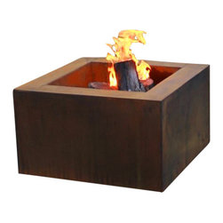 """Home Infatuation - Mini-Square Weathering Steel Fire Pit, Mini Pit for Logs/Propane Gas - This handcrafted outdoor fire pit is constructed entirely of 11 gauge Cor-Ten steel. Commonly called """"weathering steel"""" it will develop a beautifully brown layer of rust when exposed to the weather."""