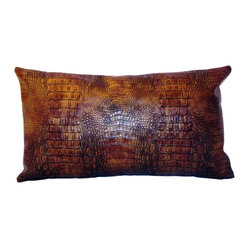Drea' Custom Designs - Faux Leather Crocodile Throw Pillow - It may look extra snappy, but don't worry — this dark bronze, faux crocodile-leather pillow won't bite. Toss it on a faux suede couch to complete the animalistic look or put it on your bed to make your retreat a bit wilder.