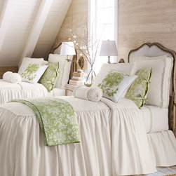 """Legacy Home - Legacy Home King Hampton Dust Skirt - Bleached white cotton twill """"Hampton"""" bed linens by Legacy Home are irresistible in both look and price. Piped bedspreads with attached skirt have a 28"""" drop. Matching dust skirts with an 18"""" drop add fullness while box shams and an 18""""Sq. pillow comple..."""