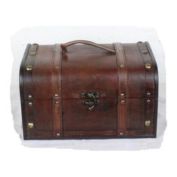 "Quickway Imports - Decorative Wood Treasure Box - Wooden Trunk Chest - Large trunk: 12.6"" x 9.5"" x 7"""