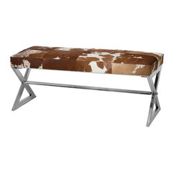 Remington Cow Hide Bench-Tan and White -