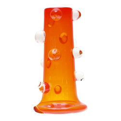 Esque - Prunt Vase, Orange - This handblown glass vase has individual bubbles attached to it that were added by a masterful artisan while the glass was hot. Select your favorite color and make a real statement on your table or desk. You don't even need to add flowers.