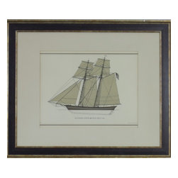 Vintage Ship Painting, Ship Baltimore Clipper - Vintage – Print of Baltimore Clipper from about 1820.