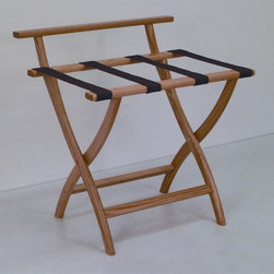 "Wooden Mallet - Luggage Rack w Standard Brown Webbing in Ligh - Our unique ""Wall Saver"" feature prevents costly wall damage. Has multiple uses when it doubles as a breakfast tray holder or blanket stand. Folds flat and is easily stored in a closet or against a wall when not in use. Four 2 in. woven straps support heavy suitcases. Graceful, curved legs add a designer flair. Rated to hold suitcases up to 100 lbs.. Built using solid oak construction and state-of-the-art finish for heavy use and lasting beauty.  Made in the USA. No assembly required. All Wooden Mallet products are warranted for 1 year against defects in materials and workmanship. Overall: 29.5 in. L x 23.75 in. W x 18 in. H (7 lbs.). Open: 29.5 in. L x 23.75 in. W x 18 in. H. Closed: 29.5 in. L x 23.75 in. W x 4.5 in. HGive your guest room the feeling of a four star hotel with this beautiful luggage rack. Built using solid oak and sturdy webbing, even the heaviest suitcases are easily supported by the four 2 in. wide woven straps. Our unique ""Wall Saver"" feature prevents costly wall damage. This luggage rack has multiple uses when it doubles as a breakfast tray holder or blanket stand. These luggage racks fold and unfold easily. Take it out for guests, and then fold it up for easy storage. It is also a great in the master bedroom for packing suitcases for business trips or vacations."