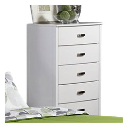Homelegance - Homelegance Lyric 5-Drawer Chest in White - Taking the expected design elements of hard contemporary and putting a decidedly feminine curve into the mix makes the Lyric collection a unique addition to your new bedroom design. With each curve comes a new twist - satin nickel hardware accents the glossy white finish, bow-front case pieces feature ball bearing drawer glides and compliment the Padded sleigh headboard & footboard, while a round, contemporary mirror reflects the modern designs that you have selected. A final, unique, addition to the collection is the Glass topped night stand that furthers the contemporary feel.