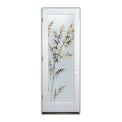 Sans Soucie Art Glass (door frame material Plastpro) - Glass Front Entry Door Sans Soucie Art Glass Bamboo Forest - Sans Soucie Art Glass Front Door with Sandblast Etched Glass Design. Get the privacy you need without blocking light, thru beautiful works of etched glass art by Sans Soucie!  This glass is semi-private.  (Photo is view from outside the home or building.)  Door material will be unfinished, ready for paint or stain.  Bronze Sill, Sweep, Satin Nickel Hinges. Available in other finishes, sizes, swing directions and door materials.  Dual Pane Tempered Safety Glass.  Cleaning is the same as regular clear glass. Use glass cleaner and a soft cloth.