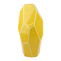 """Bambeco Soleil Vase Large - Create an eye-catching display with the Soleil Vase Large. Crafted from thick, natural ceramic, these modern designer pieces present striking angles and fresh, bright color. The contemporary design and geometric style is sure to add a distinctive air to any décor. Available in three sizes to suit your space.  Dimensions: Large – 6.75""""W x 14.5""""H"""
