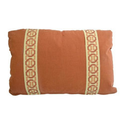 """Pre-owned 14 x 20 Rust Lumbar Pillow with Kravet Accent Tape - 14"""" x 20"""" custom lined Linen rust colored lumbar pillow with Kravet accent tape. Pillow has no welt, served seams, a hidden zipper and comes with a 90/10 Down feather insert. This pillow will make a handsome addition to a leather sofa or chair, or a neutral space that could use a pop of color.     There are two identical pillows available for purchase. If you'd like to buy both, email: support@chairish.com."""