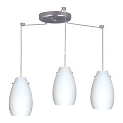 Besa Lighting - Besa Lighting 3JC-412607-LED Pera 3 Light LED Cord-Hung Mini Pendant - The Pera 9 is a curvy bell-bottomed shape, that fits nicely into any contemporary design. Our Opal glass is a soft white cased glass that can suit any classic or modern decor. Opal has a very tranquil glow that is pleasing in appearance. The smooth satin finish on the clear outer layer is a result of an extensive etching process. This blown glass is handcrafted by a skilled artisan, utilizing century-old techniques passed down from generation to generation. The cord pendant fixture is equipped with three (3) 10' SVT cordsets and a 3-light round canopy, three (3) suspension stemhooks included.Features: