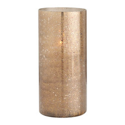 Kathy Kuo Home - Hagar Tall Glass Speckled Gold Modern Hurricane Candle Holder - Warm, honey tones are emitted from the reactive glaze of this short glass hurricane.  Artistic, interesting and undeniably gorgeous, this sun-kissed beauty will preserve that summertime feeling all year long.