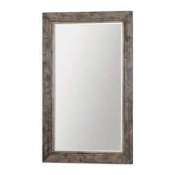 """Grace Feyock - Grace Feyock Bozeman Grande Floor Mirror X-15831 - This Oversized Mirror Features A Heavily Distressed, Slate Blue Frame With Aged Wood Undertones And Rustic Ivory Accents. Mirror Has A Generous 1 1/4"""" Bevel. May Be Hung Either Horizontal Or Vertical."""