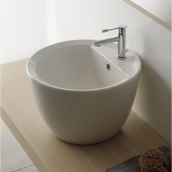 """Scarabeo - Tall Bowl Shaped Contemporary Vessel Sink by Scarabeo - Contemporary circular above counter vessel sink with overflow and a single faucet hole. Tall bowl shaped washbasin made of high quality white ceramic. Stylish sink designed and made in Italy by Scarabeo. Sink dimensions: 18.10"""" (width), 11.80"""" (height), 18.10"""" (depth)"""