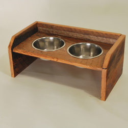 Custom Furniture - Barn wood dog dining station. Stainless bowls