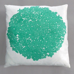 "Dermond Peterson - Hydrangea Turquoise Pillow on White Linen - Bright, playful, and fun! Dermond Peterson pillows are a chic and sophisticated way to add a piece of art to your living room or bedroom. Features: -Color: Turquoise and White Linen. -Each pillow is made to order. -Hand block printed on natural linen using water based ink. -Feather and down insert. -Pillowcase is machine washable. -Machine wash cold on gentle cycle. -Made in Milwaukee, WI. -Overall dimensions: 20"" H x 20"" W x 4"" D."