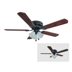 "Builder's Collection - Oil Rubbed Bronze 52"" Hugger Ceiling Fan w/ Light Kit - Motor Finish: Oil Rubbed Bronze"