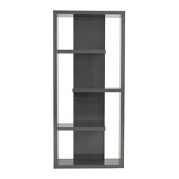 Euro Style - Euro Style Robyn Shelving Unit 09821GRY - Why is it that when people think 'bookshelves' they often think 'boring'. Well it's probably because they haven't seen the Robyn shelving unit. An unusual set of shapes and lines, it looks pretty darn good empty! But wait'there's more.