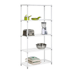 None - Five Tier White Storage Shelves - Clean white finish and steel frame make this unit the perfect blend of style and functionality. Combine multiple units to create a customized storage wall. The no-tool assembly allows you to construct in minutes a shelving unit that will last for years.