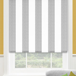 Blinds.com Premier Decorative Roller Shades in Broad Stripe Flint - Choose Premier Decorative Fabric Roller Shades by Blinds.com to bring a designer look to your windows at a low price. This exclusive fabric selection features many natural fibers, textures, stripes and prints not available in most roller shade collections. Shades come standard with light filtering lining (except Villa which requires blackout lining), and can be upgraded to be backed with reflective energy saving lining or blackout lining. All lining options are fully attached to the face fabric, and white to the outside. Choose from 2 operating systems: the standard Continuous Cord Loop or Cordless. In addition, a Cassette Valance is offered as an upgrade.
