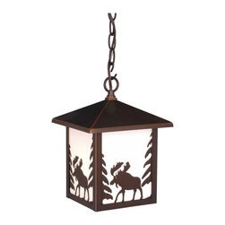Vaxcel - Yellowstone Outdoor Burnished Bronze 11 in. Outdoor Pendant - Dimensions: 8 in. W x 8 in. L x 11 in. H.