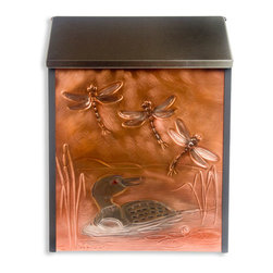 Loon & Dragonflies Locking Wall-Mount Copper Mailbox - Perfect for a lake house or anyone who loves the outdoors, this locking wall mount mailbox has a loon duck in the water and dragonflies hand-embossed on the front copper panel.