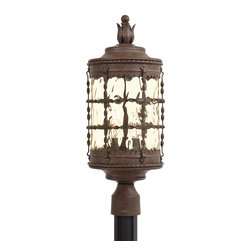 Minka Lavery - Minka Lavery Outdoor 8885-A61 Mallorca Vintage Rust 3 Light Post Mount - Champagne Hammered Glass Shade