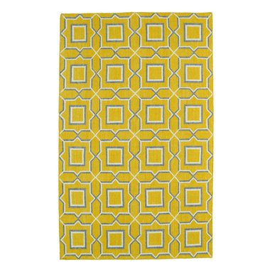 Kaleen - Kaleen Glam Collection GLA06-28 9' x 12' Yellow - The Glam collection puts the fab in fabulous! No matter if your decorating style is simplistic casual living or Hollywood chic, this collection has something for everyone! New and innovative techniques for a flatweave rug, this collection features beautiful ombre colorations and trendy geometric prints. Each rug is handmade in India of 100% wool and is 100% reversible for years of enjoyment and durability.