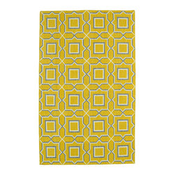 """Kaleen - Kaleen Yellow Glam Rug, 2'6""""x8' - The Glam collection puts the fab in fabulous! No matter if your decorating style is simplistic casual living or Hollywood chic, this collection has something for everyone! New and innovative techniques for a flatweave rug, this collection features beautiful ombre colorations and trendy geometric prints. Each rug is handmade in India of 100% wool and is 100% reversible for years of enjoyment and durability."""