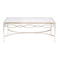 Worlds Away Grace Iron and Marble Coffee Table, Silver Leaf - Worlds away grace coffee table, elegantly finished iron with marble top coffee table.