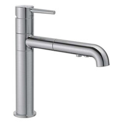 Delta Faucet - Trinsic Pull-Out Faucet Arctic Stainless - 4159-AR-DST Trinsic 1-Handle Pull-Out Sprayer Kitchen Faucet in Arctic Stainless