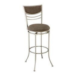 Hillsdale Amherst 30 in. Swivel Bar Stool - The Hillsdale Amherst 30 in. Swivel Bar Stool is extra tall for bar-height comfort and fearlessly modern with clean circular lines perfect for the most contemporary taste. This bar height stool has a padded seat covered in 100% polyester in a charcoal color and it rotates a full 360 degrees for comfort and convenience. The padded seat back is contoured for comfort. The heavy gauge tubular steel base is powder-coated with a durable shining Champagne metal frame finish that gleams. The legs have a flare at the bottom that's stylish and stable. Every Hillsdale stool is backed by a full-year guarantee. Assembles easily. Stool dimensions: 17W x 17.5D x 44.5H inches. Seat height: 30 inches. Please note: This item is not intended for commercial use. Warranty applies to residential use only. About Hillsdale FurnitureLocated in Louisville Ky. Hillsdale Furniture is a leader in top-quality affordable bedroom furniture. Since 1994 Hillsdale has combined the talents of nationally recognized designers and globally accredited factories to bring you furniture styling and design from around the globe. Hillsdale combines the best in finishes materials and designs to bring both beauty and value with every piece. The combination of top-quality metal wood stone and leather has given Hillsdale the reputation for leading-edge styling and concepts.