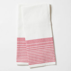 "Coyuchi - Coyuchi Diamond Stripe Fuchsia Kitchen Towel Set of 2 - This Coyuchi kitchen towel set introduces eco-friendly sophistication to the modern interior. Across a white, diamond woven background, yarn-dyed stripes lend a colorful accent. 16""W x 24""H; Set of two; 100% organic cotton; Due to handmade quality, slight variations in fabric may occur; Machine washable"