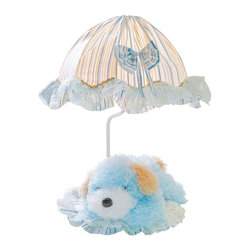 Lite Source - Lite Source Puppy Accent Kids Table Lamp X-ULB0906-KI - The removable light blue puppy on the base adds a playful touch to this Lite Source kid's lamp. From the Puppy Collection, this accent lamp is an excellent choice for nurseries, playrooms or a young child's room. It also features a light blue fabric shade with stripe and lace trim detailing.