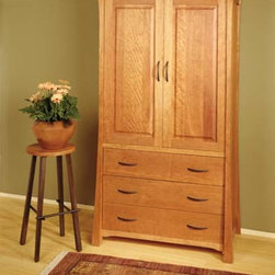 SHINTO ARMOIRE - East meets West with this Asian style arts and crafts solid hardwood bedroom collection.