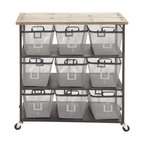 Metal Wood Storage Cart - Description: