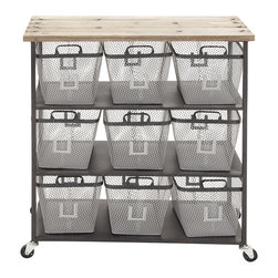 Simply Too Useful Metal Wood Storage Cart - Description: